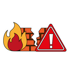 Firewall warning cyber security digital vector