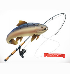 fish and fishing rod 3d icon vector image