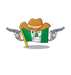 Flag norfolk island dressed as a cowboy having vector