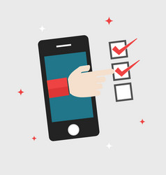 Flat design business concept forefinger checklist vector