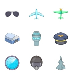 Flight elements icons set cartoon style vector