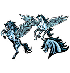 Flying pegasus horse mustang set collection vector