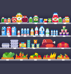 food products on shop shelf supermarket shopping vector image