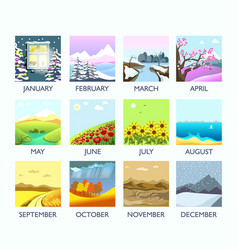 four seasons month nature landscape winter summer vector image