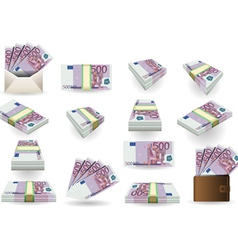 Full Set of Five Hundred Euros Banknotes vector image