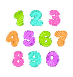 funny colorful numbers patch set vector image