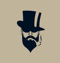 gentleman logo vintage simple man face icon vector image