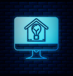Glowing neon computer monitor with smart house and vector