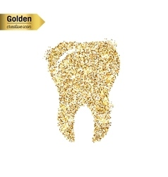Gold glitter icon of tooth isolated on vector