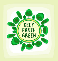 Green earth campaign spherical flat art template vector
