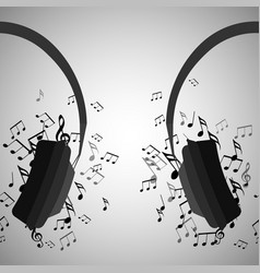 half of headphones with musical notes vector image vector image