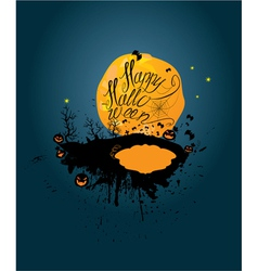 Halloween night pumpkins sillouettes on moon vector