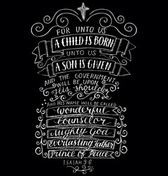 Hand lettering for unto you a child is born on vector