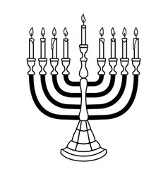 hanukkah candle in engraving style isolated vector image