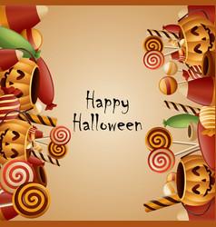 Happy halloween card pumpkins vector