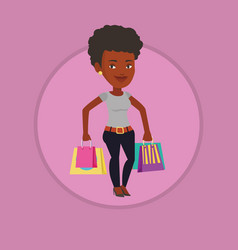 happy woman with shopping bags vector image