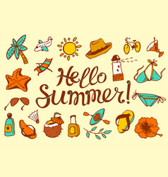 Hello summer lettering background with summer and vector