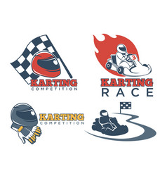 Karting races or kart club competition vector