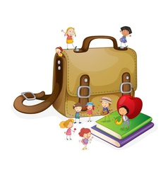 kids and bag vector image