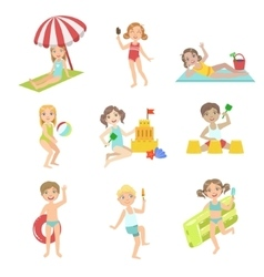 Kids Playing At the Beach Set vector image