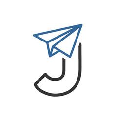 Letter j paper plane logo vector