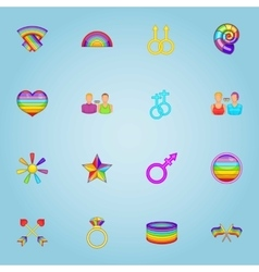 LGBT icons set cartoon style vector