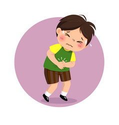 Little boy suffering from stomachache vector
