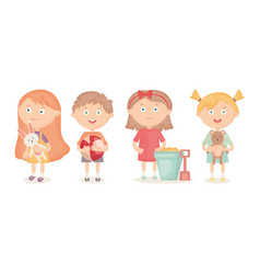 little kids group playing with toys vector image