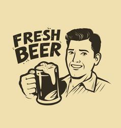 Man with a beer vintage sketch vector