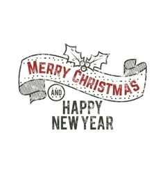 Merry christmas and happy new year typography wish vector