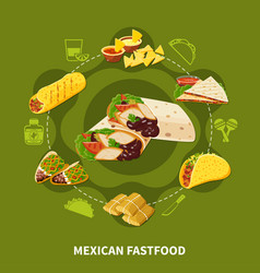 mexican fastfood round composition vector image