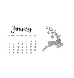 Monthly desk calendar template for month january vector