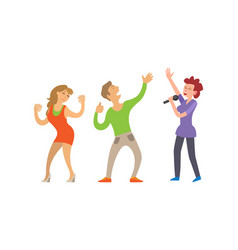 partying people dancing couple and female singer vector image