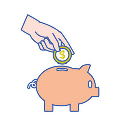 Piggy to save money and hand with coin vector