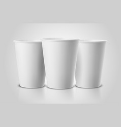 realistic 3d white paper disposable cup set vector image