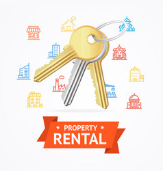 realistic detailed keys to house property rental vector image