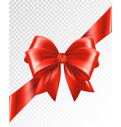 red corner ribbon with bow - design element vector image