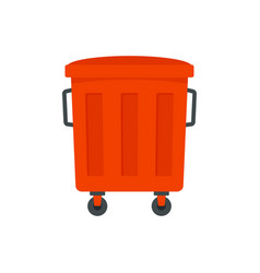 Red garbage box icon flat style vector