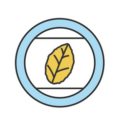round sticker with tobacco leaf color icon vector image