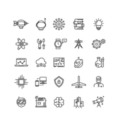 Science media and internet thin line icons vector image
