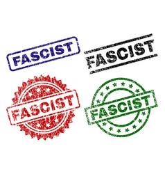 Scratched textured fascist stamp seals vector
