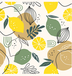 seamless pattern with lemons and limes vector image