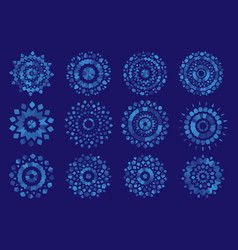 Semi-transparent snowflakes on a blue background vector