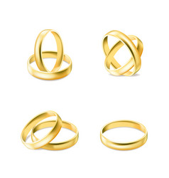 set gold engagement rings isolated on white vector image