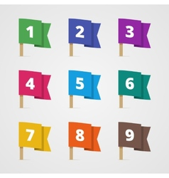 Set of colorful flags with numbers in flat style vector image