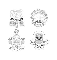 Set of original logos for mexican restaurants vector