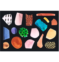 set with paper cut pieces collage vector image