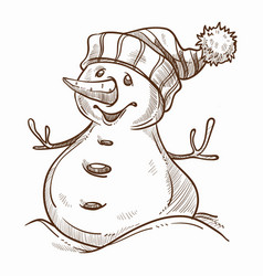 snowman with happy smile on face winter character vector image