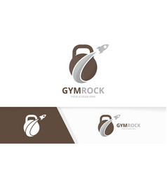 sport and rocket logo combination gym and vector image