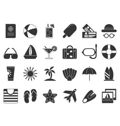 summer time black symbols icon set isolate vector image